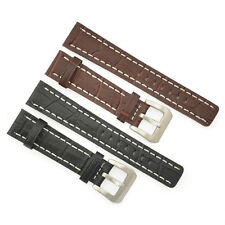 18mm 20mm 22mm 24mm Crocodile Grain Brown Black Leather Watch Band Strap 003