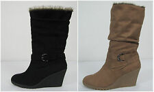 A.N.A womens boots Cozy Wedge solid sizes 10 11 NEW