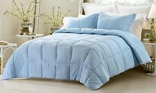 3pc Light Blue Reversible Solid/Embossed Stripe Comforter Set with Pillow Shams