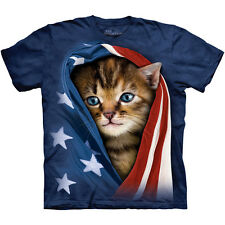 PATRIOTIC KITTEN T-Shirt The Mountain Cat Face USA American Flag Tee S-3XL NEW