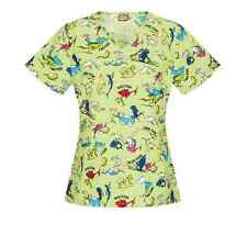 Nurses Scrubs Top DR SEUSS ONE FISH TWO FISH VNeck Scrub Top L Large NEW