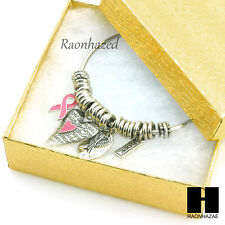 Wire Charms Bangle Bracelet Silver Hope Pink Ribbon Symbol & Heart Charms GB097S