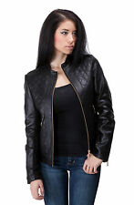 Jacket Leather Motorcycle S New Biker Black Coat Lambskin Womens Jackets WJ136