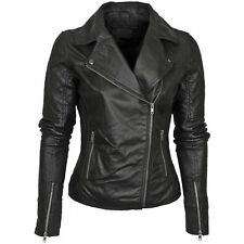 Jacket Leather Motorcycle S New Biker Black Coat Lambskin Womens Jackets WJ116