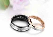PERSONALIZED TWO TONE COUPLE'S STAINLESS STEEL RING SET CUSTOM ENGRAVED FREE