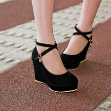 NEW Women wedge High Heels lace up Platform Straps Pumps Faux suede US All Size