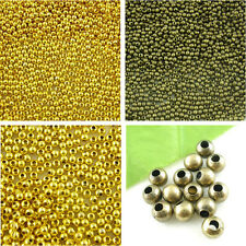 Round Smooth Ball Spacer Beads 2-6mm Gold Plated/Bronze Tone DIY Jewelry Making