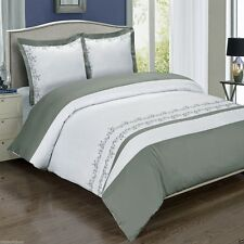 3pc Amalia Gray and White Embroidered Duvet Cover Bedding Set - Egyptian Cotton