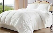 Reversible White Solid and Striped Down Alternative Comforter with Corner Tabs