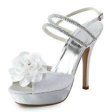 EP11087-PF White Open Toe Flower Platform Sandanls Bridal Evening Party Shoes