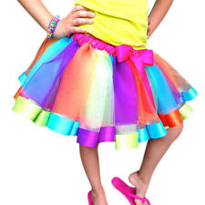 Girls Tutu Skirt Dancewear Ballet Tulle Dress Rainbow Lace Bow Party Costume New