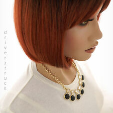 DANA BUCHMAN Gold Chain NECKLACE BLACK Accents WHITE Checkerboard BEADS CRYSTALS