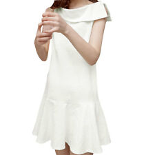 Women Sleeveless Asymmetric Neck Ruffled Hem Tunic Dress