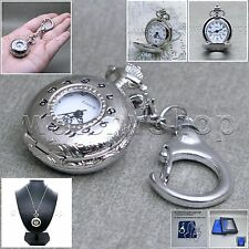 Silver Classic Ladies Pendant Watch Quartz Key Chain Necklace Gift  L16