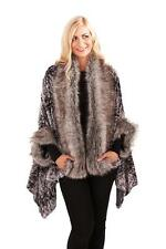 Boutique Womens Poncho Wrap New Ladies Faux Fur Trim Shawl Warm Coat Cape Jacket