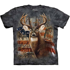 PATRIOTIC BUCK T-Shirt The Mountain USA American Flag Deer Hunting S-3XL NEW