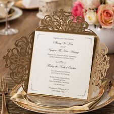 Gold Wedding Invitations Party Invite Cards with Envelop,Seal,Free Custom Print