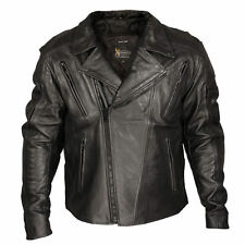 Xelement Mens Black Classic Rider Blackout Leather Motorcycle Jacket XS-PR-1057