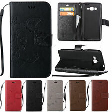 Leather Wallet Card Hand Strap Case Cover For Samsung Galaxy Grand Core Prime