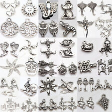 Retro Mixed Shaped Carving Silver Plated Charms Beads Pendants Jewelry Making