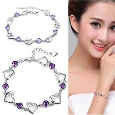 Silver Plated Bracelet Bangle Crystal Hot Sale Chain Women's Cuff Heart Purple r