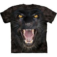 AGGRESSIVE BLACK PANTHER T-Shirt Big Face Growling Cat Zoo Animal S-3XL NEW