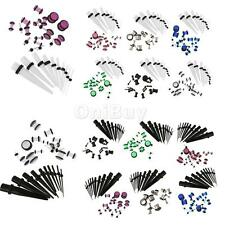 10Pcs Ear Expander & 9 Pairs of Tunnel Fake Ear Plugs Taper Set (Choose Color)