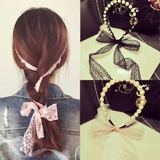 Korean Frenal Pearl Stringing Beads Lace Ribbon Hair Bands Headband Accessories