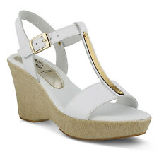 Spring Step Women's Durian Casual Comfort Leather Open Toe Wedge Sandals White