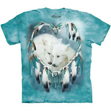 WOLF HEART T-Shirt The Mountain White Wolves Dreamcatcher Native American S-5XL