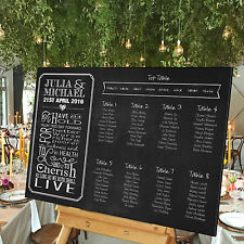 Personalised Wedding Table Seating Plan- VINTAGE CHALKBOARD VOWS - 3 SIZES