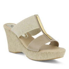 Spring Step Women's Fontane Casual Comfort Leather Wedge Slide Sandals Beige