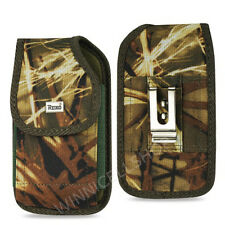 REIKO Camouflage Vertical Rugged Canvas Belt Clip Case Cover for Alcatel Phones