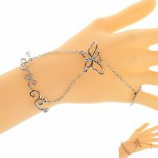 Newest Silver Plated Bracelet Chain Finger Ring Butterfly Bangle Hand Harness