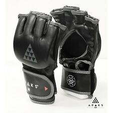 APAKS Genuine Leather MMA Grappling Gloves UFC Training Fight Punch Bag Sparring