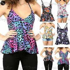 Womens Ladies Cami Strappy Floral Bralet Flared Wrap Over V Neck Peplum Top
