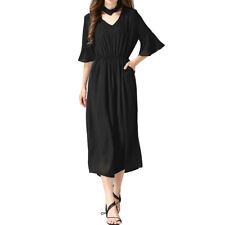Women Detachable Collar Elastic Waist Wide Leg Jumpsuit