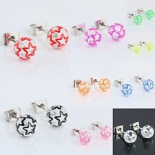 Starry Star UV 6mm Clear Ball Beads Stainless Steel Stud Pin Ear Earring Jewelry