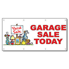 Garage Sale Today Red 13 Oz Vinyl Banner Sign With Grommets