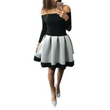 Lady Sexy Off Shoulder Contrast Black White Bubble Lace Ball Gown Pleated Dress
