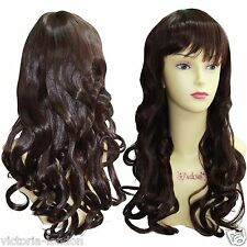 Ladies Long Curly Wavy Layered Wig Hair With Fringe Top Quality