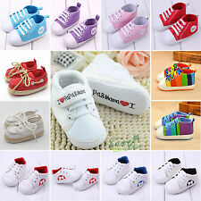Newborn Infant Toddler Pram Sneakers Baby Boy Girls Sole Crib Canvas Shoes Sport