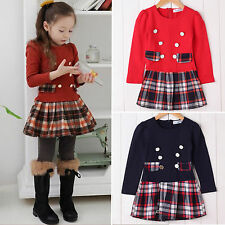 Kids Toddler Girls Tartan Plaids Skirt Party Casual School Tutu Mini Shirt Dress