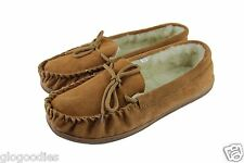 Men's Hardsole Tan Lambswool Moccasins - Extra Thick Sole - Wool Lined Slippers