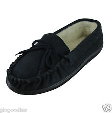 Men's Hardsole Navy Lambswool Moccasins - Extra Thick Sole - Wool Lined Slippers