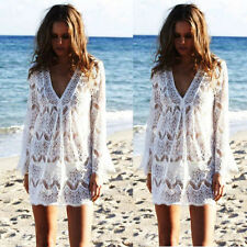 Women Summer Long Sleeve Lace Bathing Suit Bikini Cover up Dress Beach Swimwear