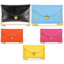 Women Envelope Clutch Chain Purse Handbag Shoulder Messenger - Orange WS