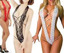 Women Sexy Underwear Lace Dress Halterneck Stripper Open Bra Crotch Nightwear WS