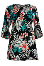 New Simply Be Emily Green Coral Jungle Print  Bell Sleeve Plus Size Tunic Top