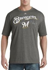 Milwaukee Brewers MLB Mens Majestic Last Rally Shirt Charcoal Big & Tall Sizes